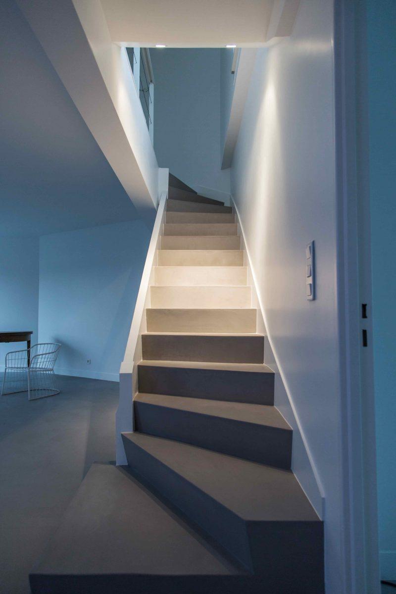 Escalier béton ciré spatulé Décaum Paris 14