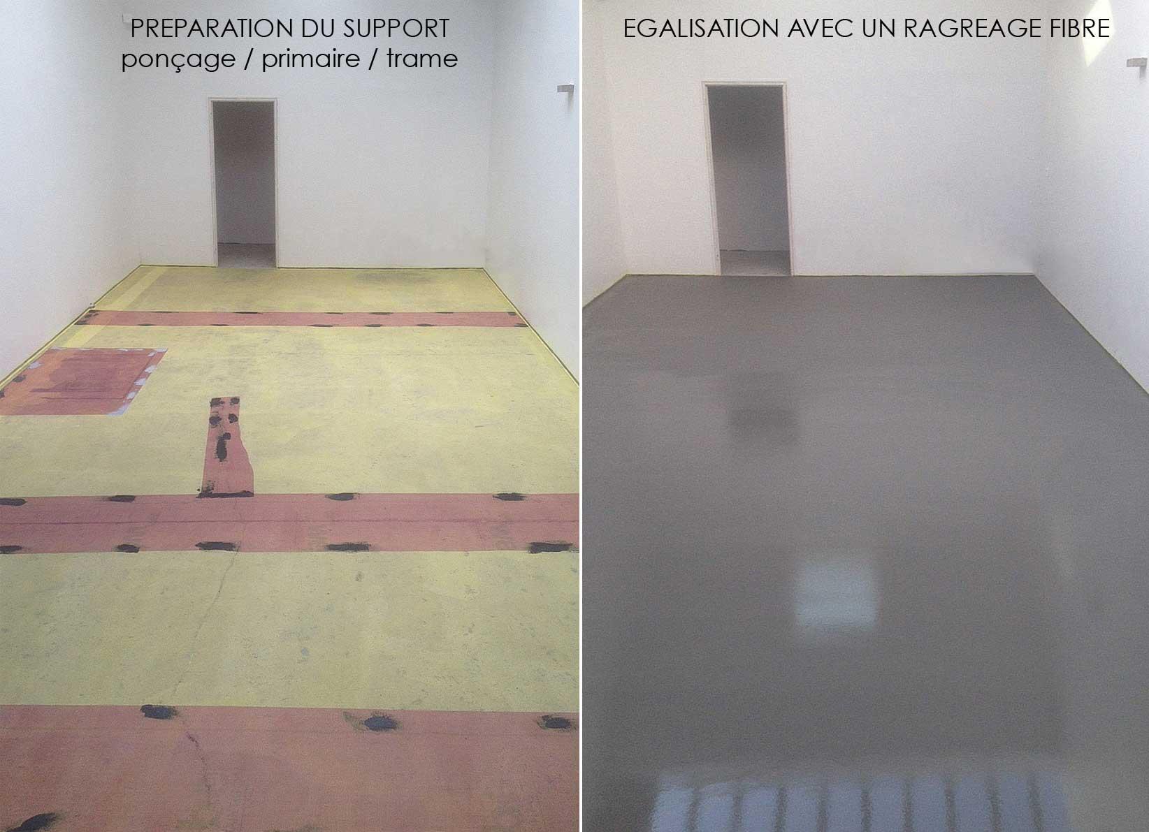 Préparation chantier béton ciré taloché studio photo Décaum Paris